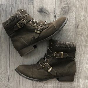 Combat Boots - Dark Forest Green - Buckle Boots